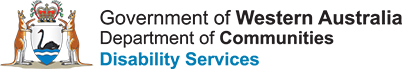 Image description: Government of Western Australia Department of Communities Disability Services logo