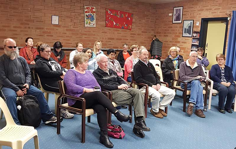 Image description: Audience listens to Valued Lives CEO Bronia Holyoak at the Perth Hills Peer-to-Peer Network Meeting