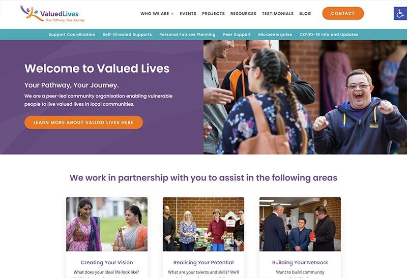 Image description: Valued Lives homepage screenshot